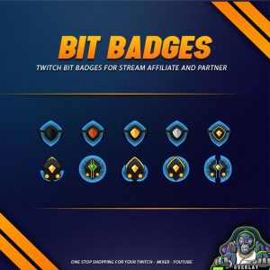 bit badges,preview,futuristic shield,overlaytemplate.com