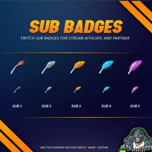 sub badges,preview,feather,overlaytemplate.com