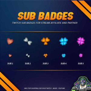 sub badges,preview,flower,overlaytemplate.com