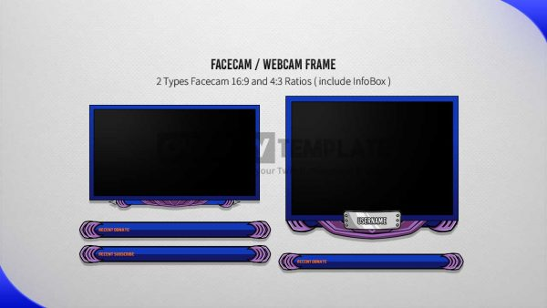 animated overlay package,preview,facecam,kunoichu,overlaytemplate.com