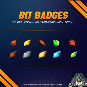 gold, silver, colorful, bit badges, molusca