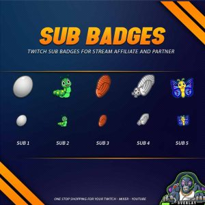 sub badges,preview,Butterfly,overlaytemplate.com