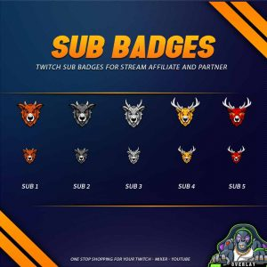 sub badges,preview,deer,overlaytemplate.com