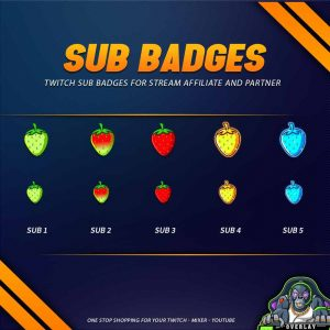 sub badges,preview,strawberry,overlaytemplate.com