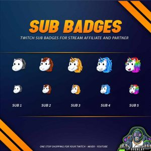 sub badges,preview,unicorn,overlaytemplate.com