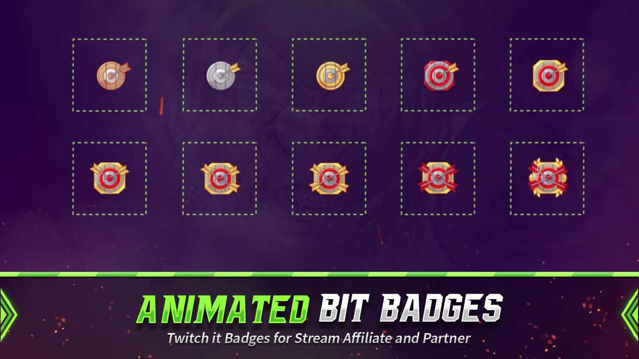 animated bit badges,preview,arrow target,overlaytemplate.com