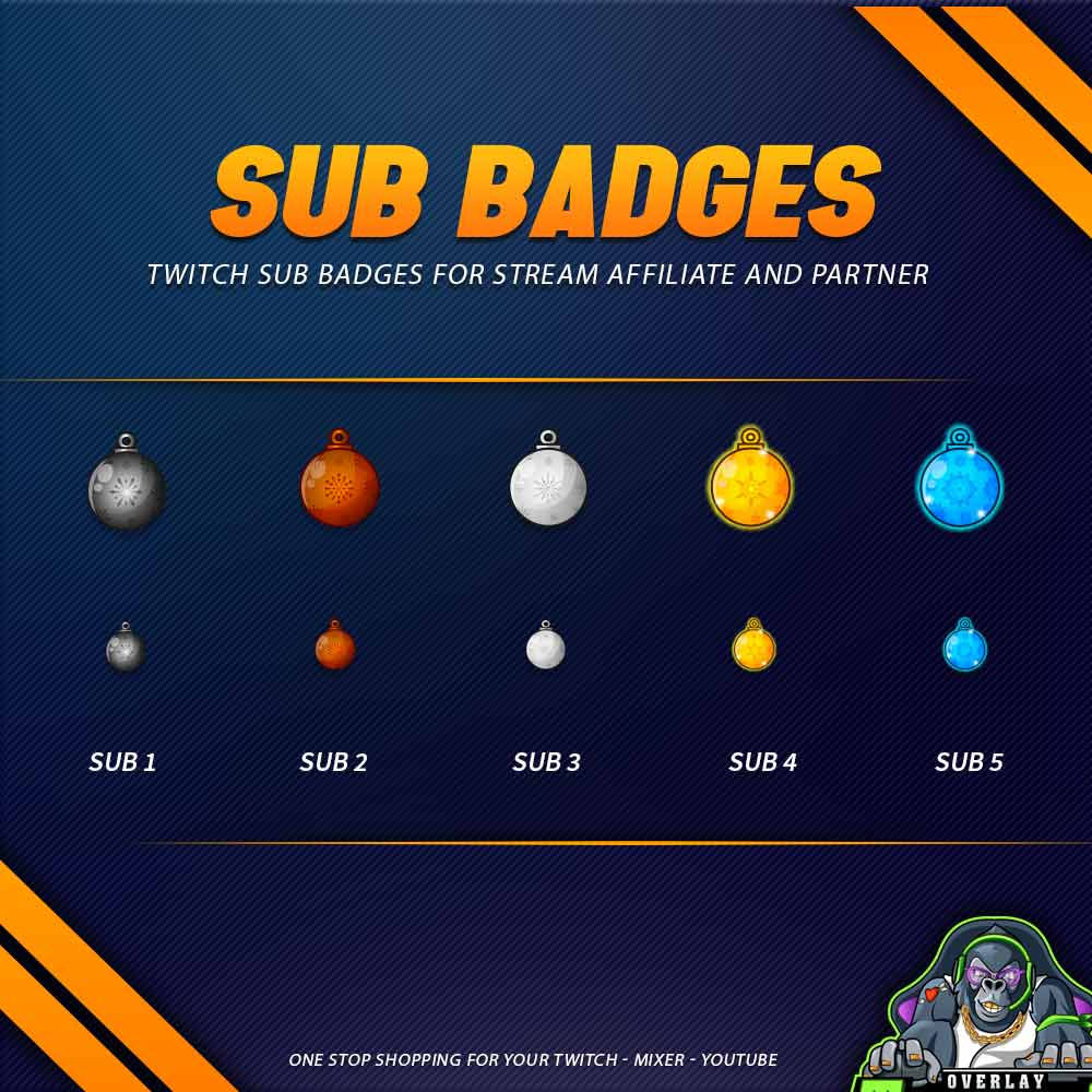sub badges,preview,christmas ball,overlaytemplate.com