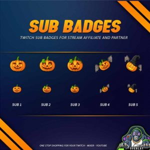 sub badges,preview,halloween pumpkin,overlaytemplate.com