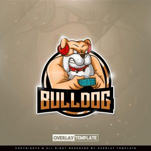 logo,preview,bulldog with joystick,overlaytemplate.com