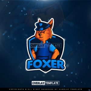 logo,preview,fox with police officer uniform,overlaytemplate.com