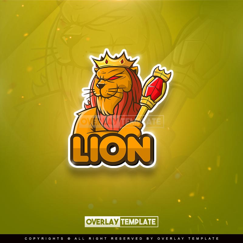logo,preview,king lion with kingdom stick,overlaytemplate.com