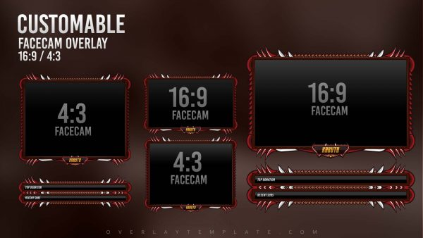 animated overlay package,preview facecam,hitosai samurai,overlaytemplate.com
