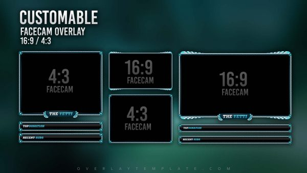animated overlay package,preview,facecam,yeti,overlaytemplate.com