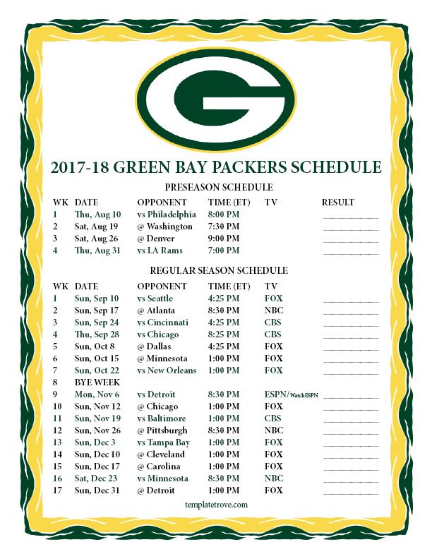 Green Bay Packers Schedule