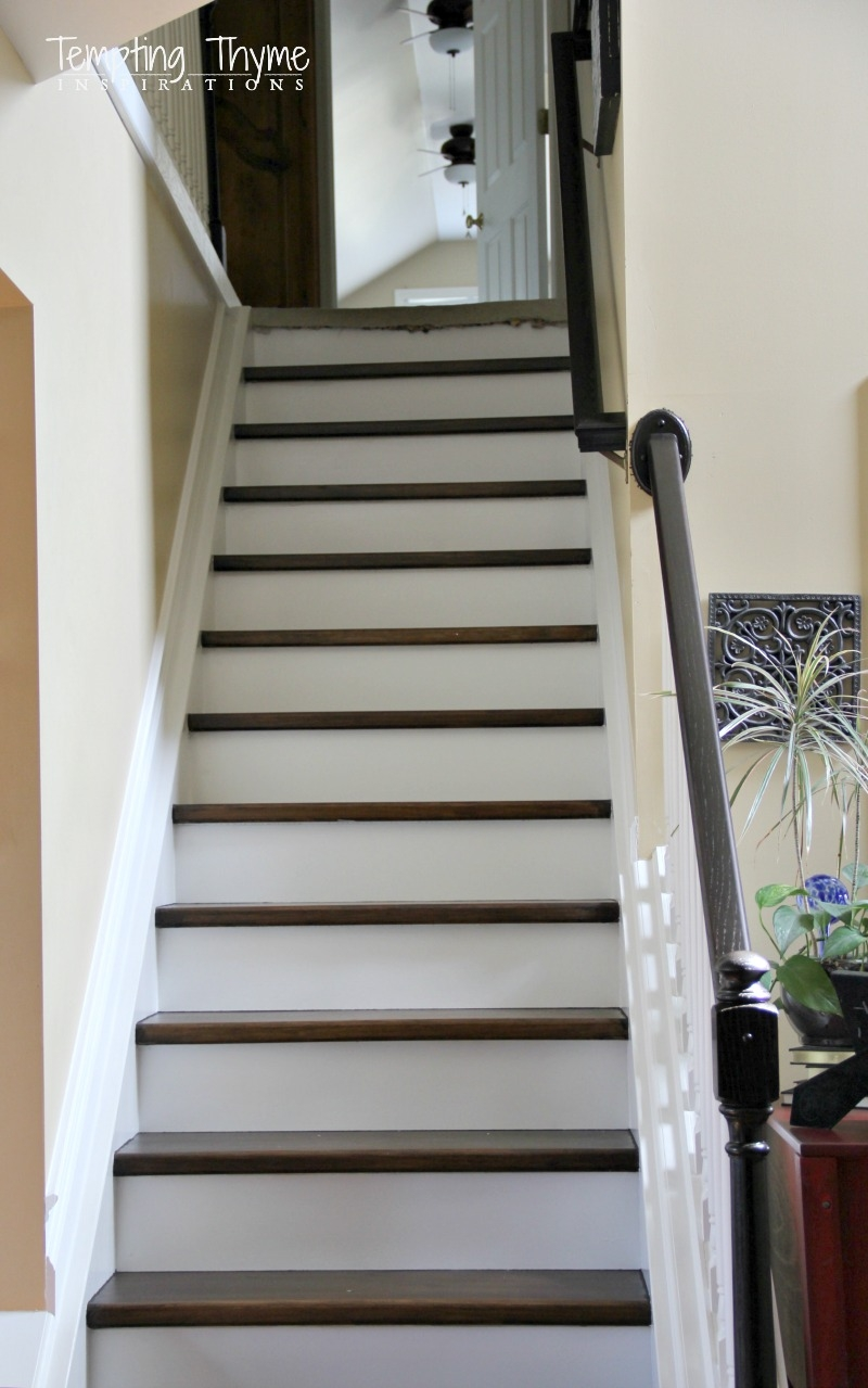 Heading On Up Installing New Stair Risers Tempting Thyme | Dark Wood Stairs With White Risers | Wall | Beautiful Wood | Wooden | Modern | Floor