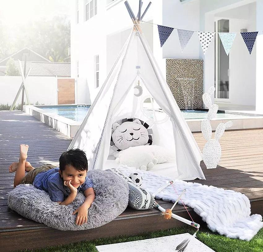 SPRINGOS Tipi pour Enfants tipi tipi Tente Wigwam avec Tapis de Sol en Coton Tente pour Enfants Chambre pour Enfants Tente pour Enfants Jeu Indien tipi pour Jouer Coin Confortable 160*120*100*Grand