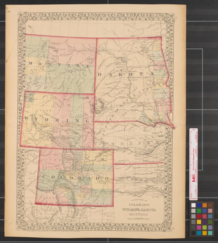 County map of Colorado  Wyoming  Dakota  Montana    The Portal to     Primary view of object titled  County map of Colorado  Wyoming  Dakota   Montana