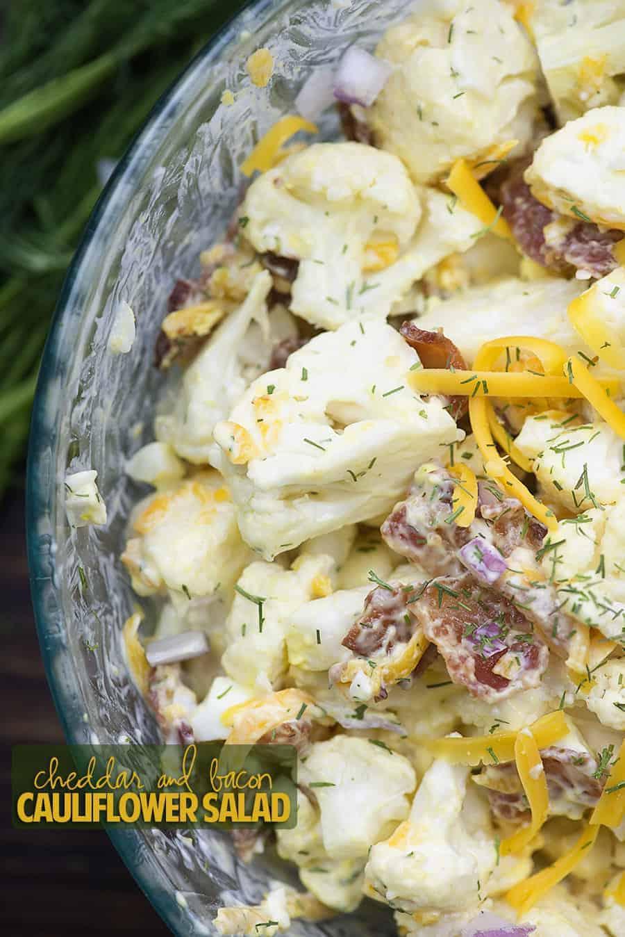 Cheddar Bacon Cauliflower Potato Salad That Low Carb Life