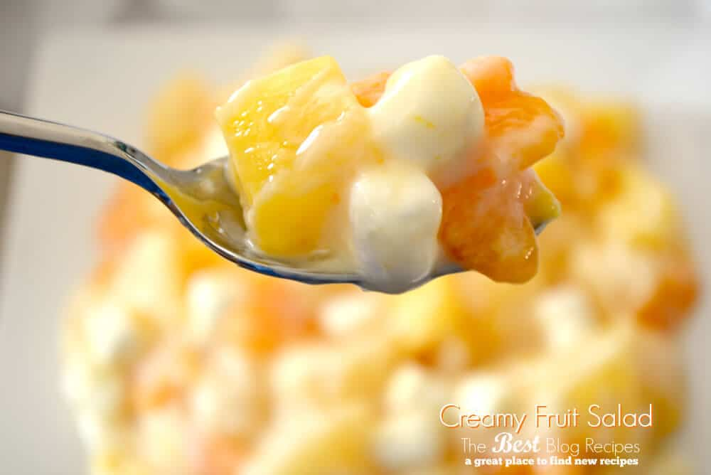 Creamy Fruit Salad w/ vanilla yogurt and mini marshmallows | thebestblogrecipes.com #dessert #fruit #salad