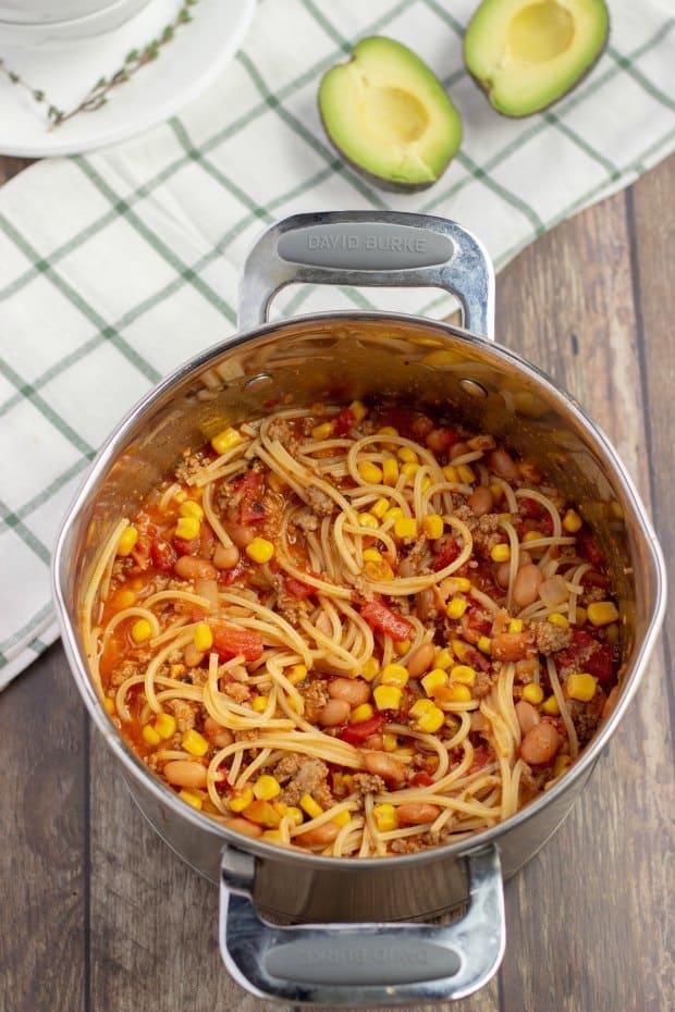 Overhead Shot of Pot of Mexican Spaghetti