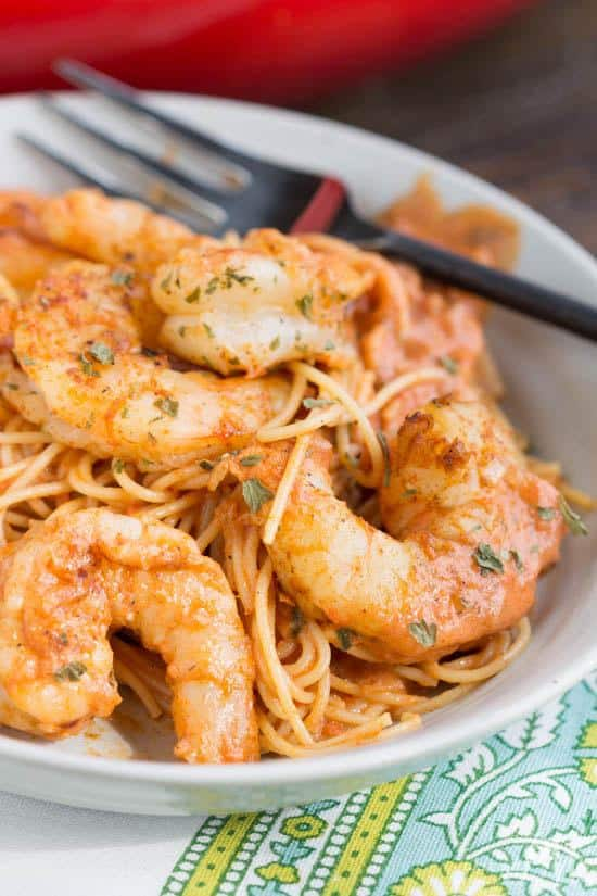 his recipe has an ideal combination of flavors from hot and spicy to tangy and creamy. It also has a nice balance of contrasting textures from the firm shrimp to the soft pasta.And, if that's not enough to win you over, maybe this will, it can beready to eat andon your table in less than 30 minutes!