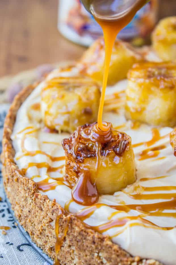 This easy no-bake cheesecake has such amazing flavor! Salted caramel, hello. The almond crust lends great texture and means thatthis dessert is gluten free!