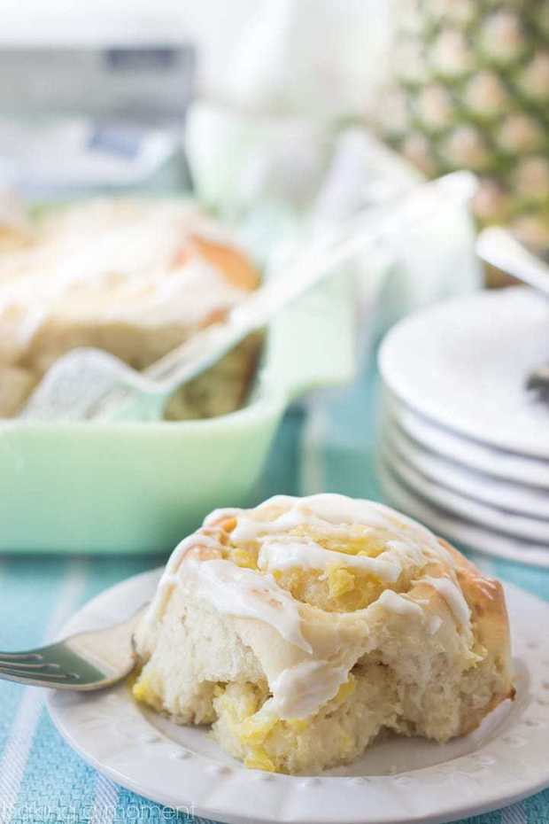 Sweet, tender yeast rolls swirled with a luscious pineapple cream cheese filling, topped with a tangy cream cheese drizzle. This tropical twist on the classic cinnamon roll is sure to be a hit at your next brunch!