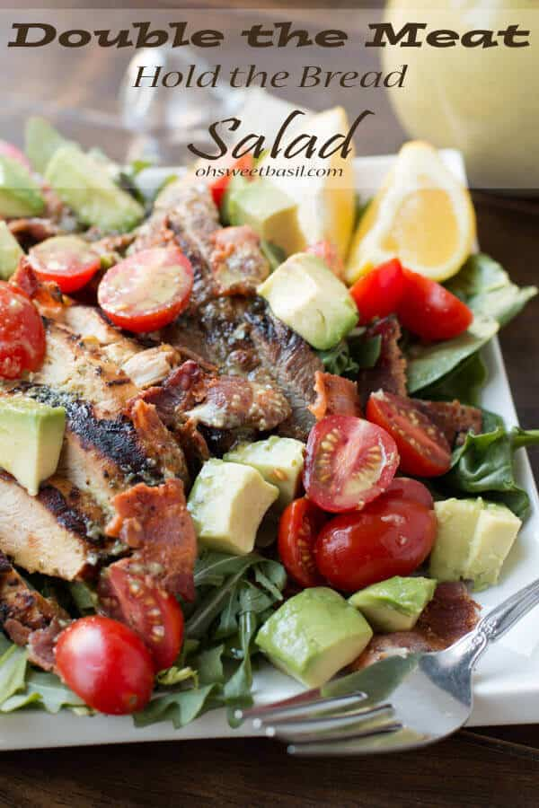 This salad is our family favorite and guests beg us to make it when they visit. It seems so simple butdouble the meat hold the bread blt saladis amazing!