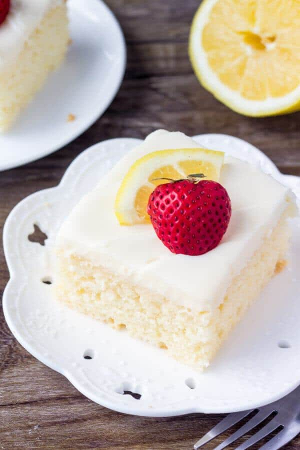 It's a deliciously moist lemon cake made in a 9×13 inch pan, then it's smothered with tangy lemon cream cheese frosting.