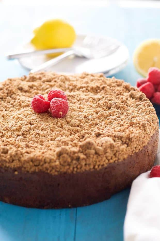 Lemon Berry Cream Cheese Coffee Cake is the answer to your brunch prayers! A lightened up coffee cake that is bursting with spring flavors, filled with a creamy cream cheese swirl and a thick crumb layer!