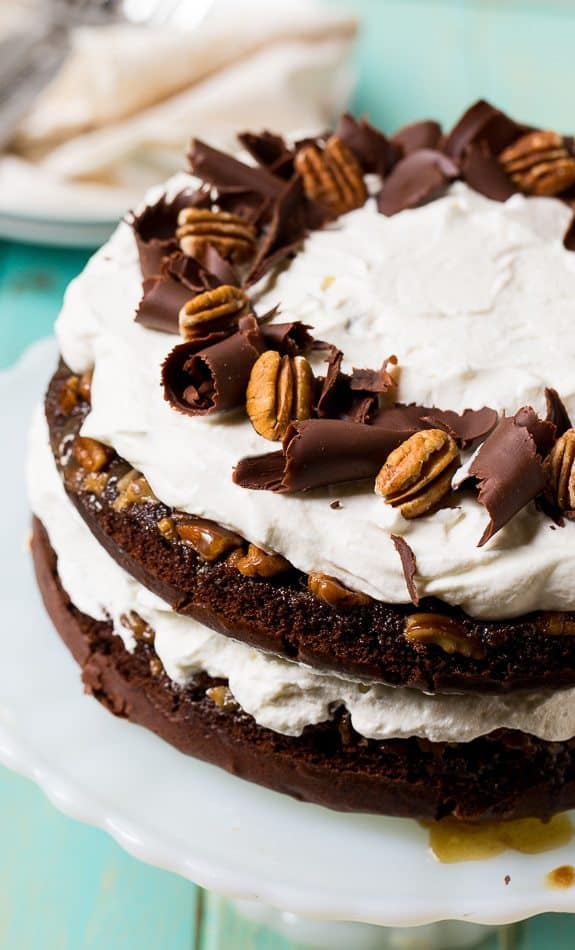 The combination of praline, chocolate, and whipped cream in this Chocolate Praline Layer Cake makes for a truly spectacular southern dessert.