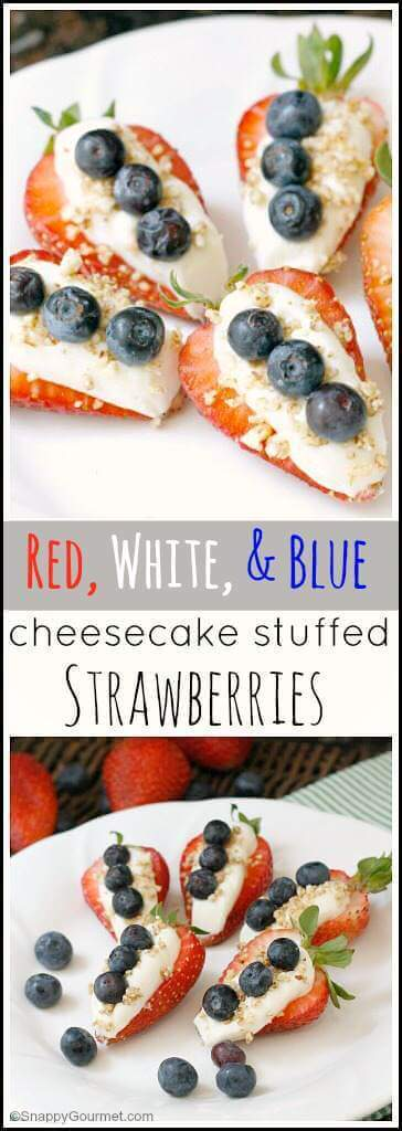 22 Red, White and Blue Cheesecake Stuffed Strawberries