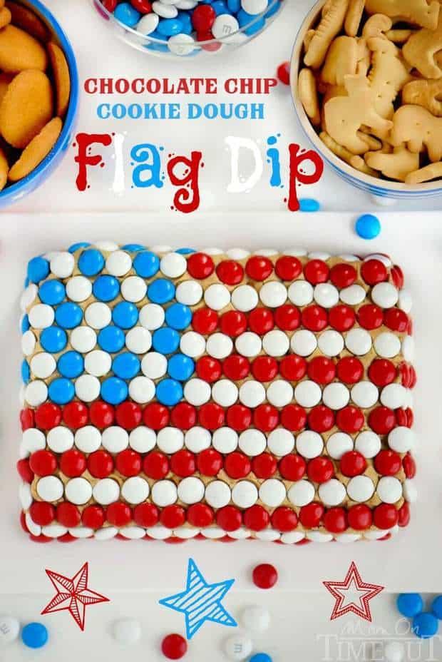 6 Chocolate Chip Cookie Dough Flag Dip