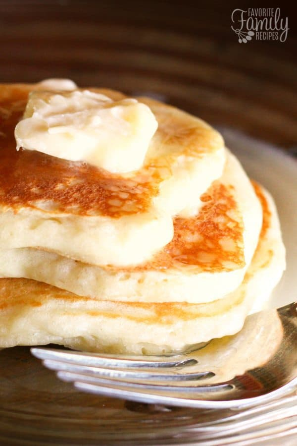 Nicea's Yogurt Pancakes with Homemade Syrup are the best pancakes ever! The yogurt in the pancakes and in the syrup gives both a rich texture and flavor.