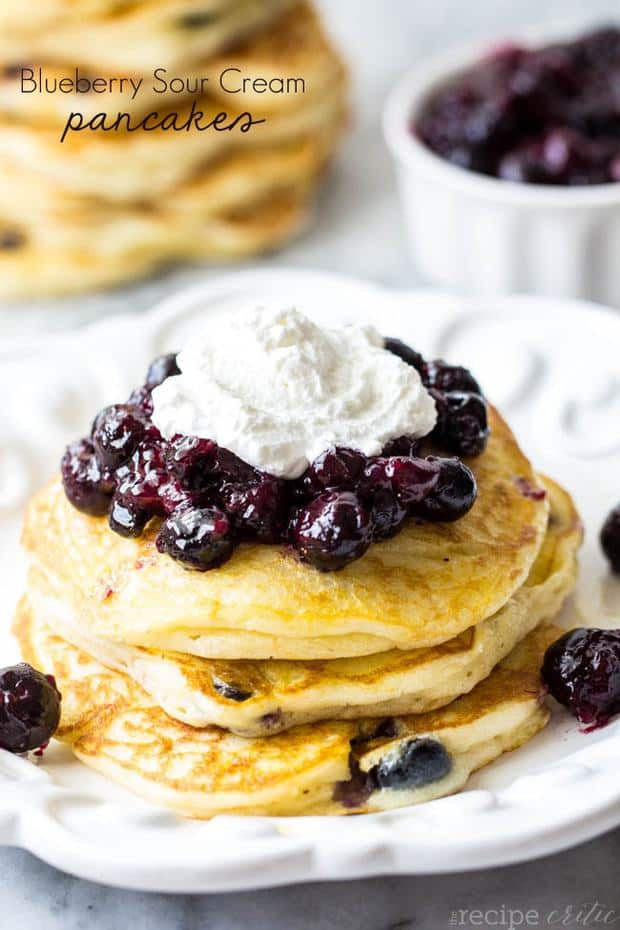 I love how you can make different variations of pancakes. But blueberry pancakes are a classic. This recipe was really the perfect blueberry pancake recipe! And I loved the sour cream mixed in with these pancakes. These pancakes were so moist and perfect and bursting with fresh blueberries inside! The fresh blueberry glaze on top completed these pancakes perfectly and were gobbled up by the entire family!