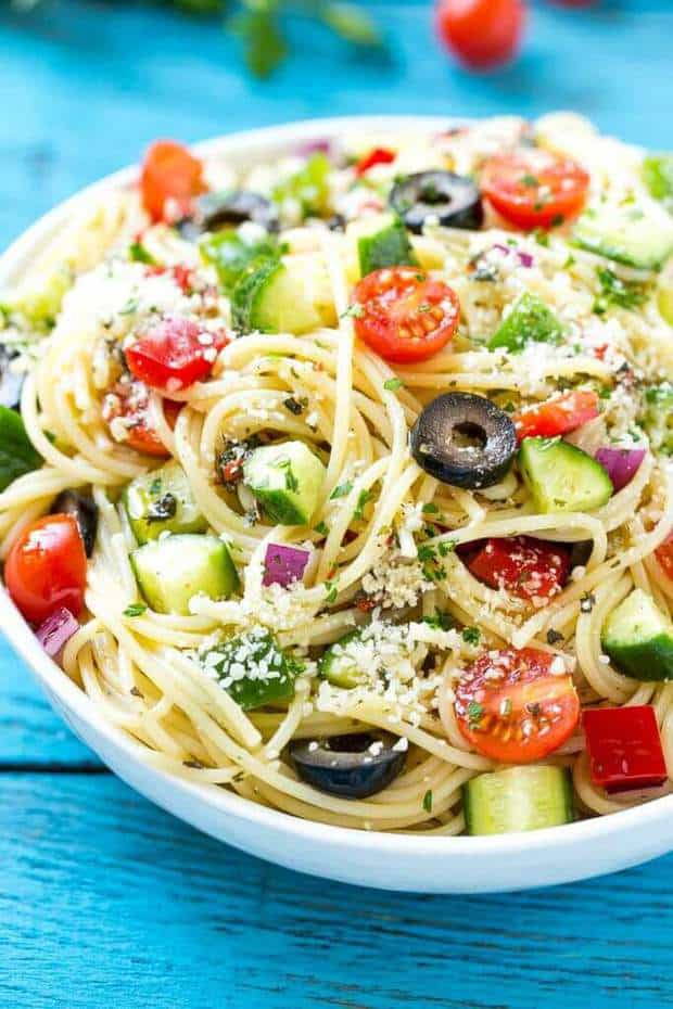 This amazing salad is the most delicious pasta salad filled with your favorite freshvegetables that get tossed in Parmesan cheese and a Homemade ZestyItalian dressing.