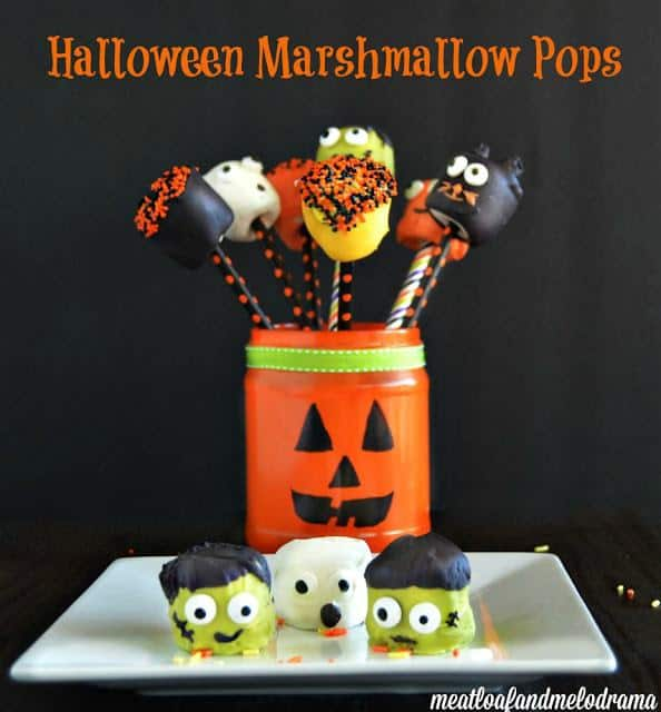 These festive, colorful Halloween Marshmallow Pops are super fun to make and perfect for parties or treats for the kids.