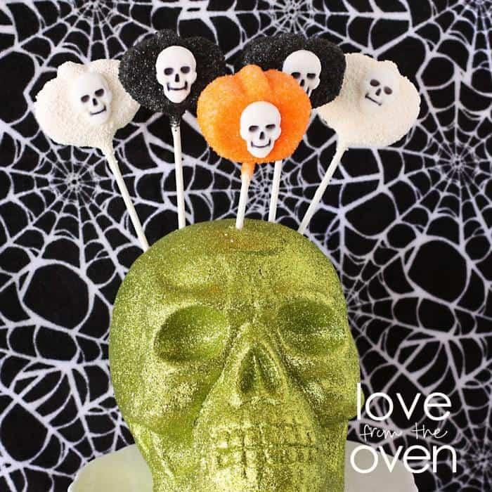 Marshmallow Pumpkin Pops for Halloween.. With Sugar Skulls