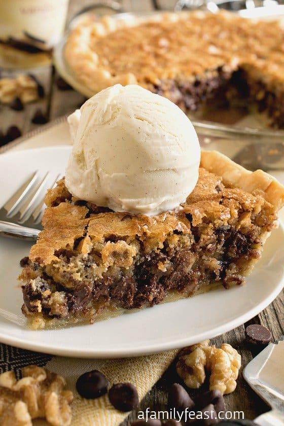 As this Toll House Chocolate Chip Pie bakes, it forms almost a crackly top – and when you bite into your slice it's dense and soft and fudgy with crunch from the chopped walnuts.