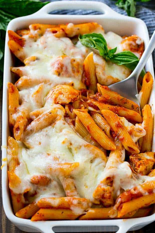 If you love classic chicken parmesan, you'll adore this simple yet satisfying baked pasta dish. This versatile recipe can be made in advance and is easy to double or triple to feed a crowd.