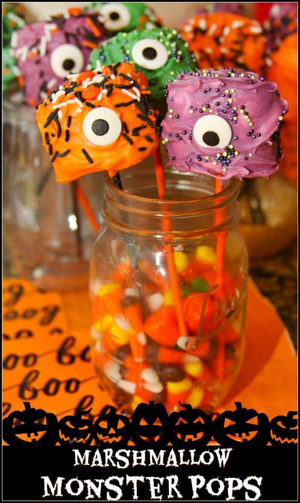 TheseMarshmallow Monster Pops are a quick and kid friendly Halloween treat that everyone in the family will love!