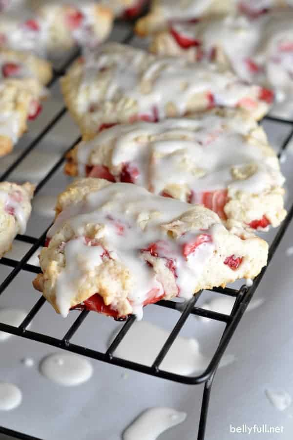 Strawberry Shortcake Scones – tender flaky scones with fresh strawberries throughout and a dreamy glaze!