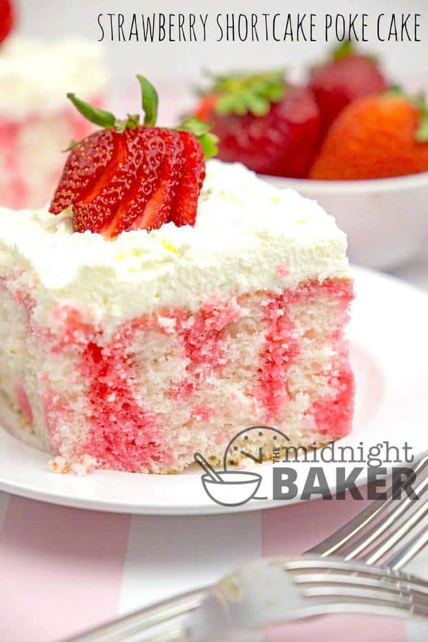 Here's a poke cake with all the great flavor of strawberry shortcake. It's easy to make too!