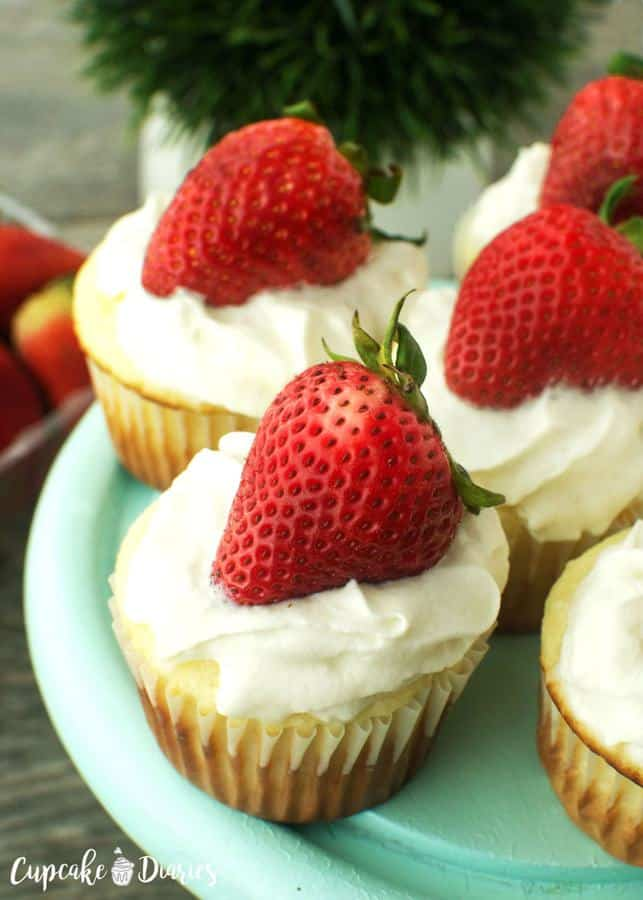 Strawberry shortcake is a perfectly light and refreshing dessert and a great way to use those summer strawberries. This recipe features those yummy flavors in a fabulous cupcake!