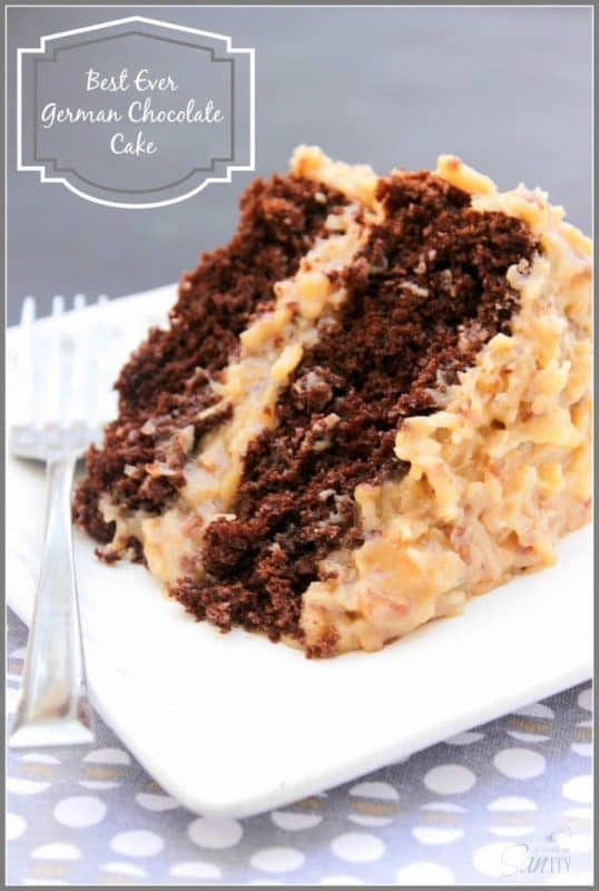 """Best Ever German Chocolate Cake or as my grandpa said, """"the best damn cake ever!"""" A double layer chocolate cake with a classic German Chocolate Cake frosting."""