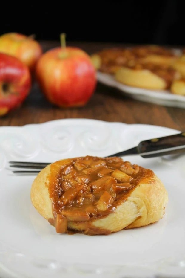 Caramel Apple Danish is the perfect fall treat! They come together easily with just 4 ingredients and the entire family will enjoy them as a sweet breakfast treat or dessert! Check out the recipe and video to see just how easy they are!