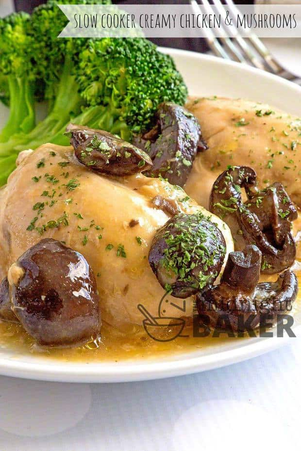 This creamy chicken and mushrooms dinner is so easy to make and your slow cooker does all the work.