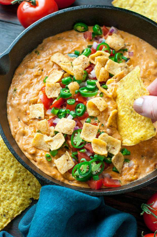 Get the party started with this ultra easy vegetarian chili cheese dip! Sketch-Free + Gluten-Free