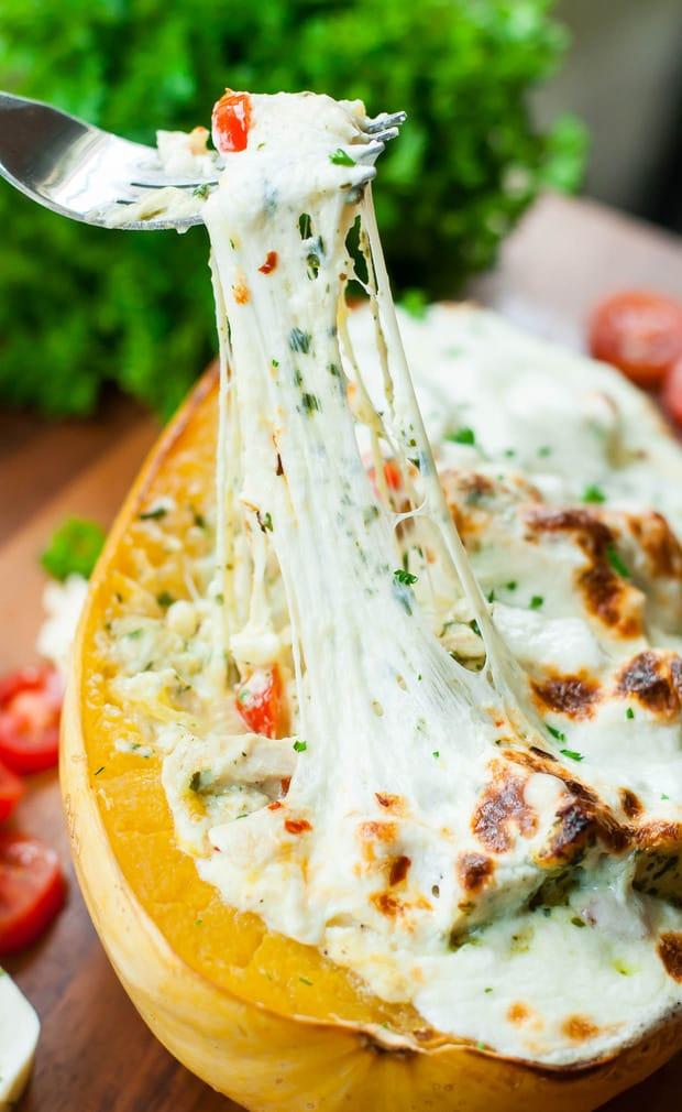 Cheesy Pesto Chicken Lasagna Stuffed Spaghetti Squash for. the. win. Say hello to the best spaghetti squash of your life!