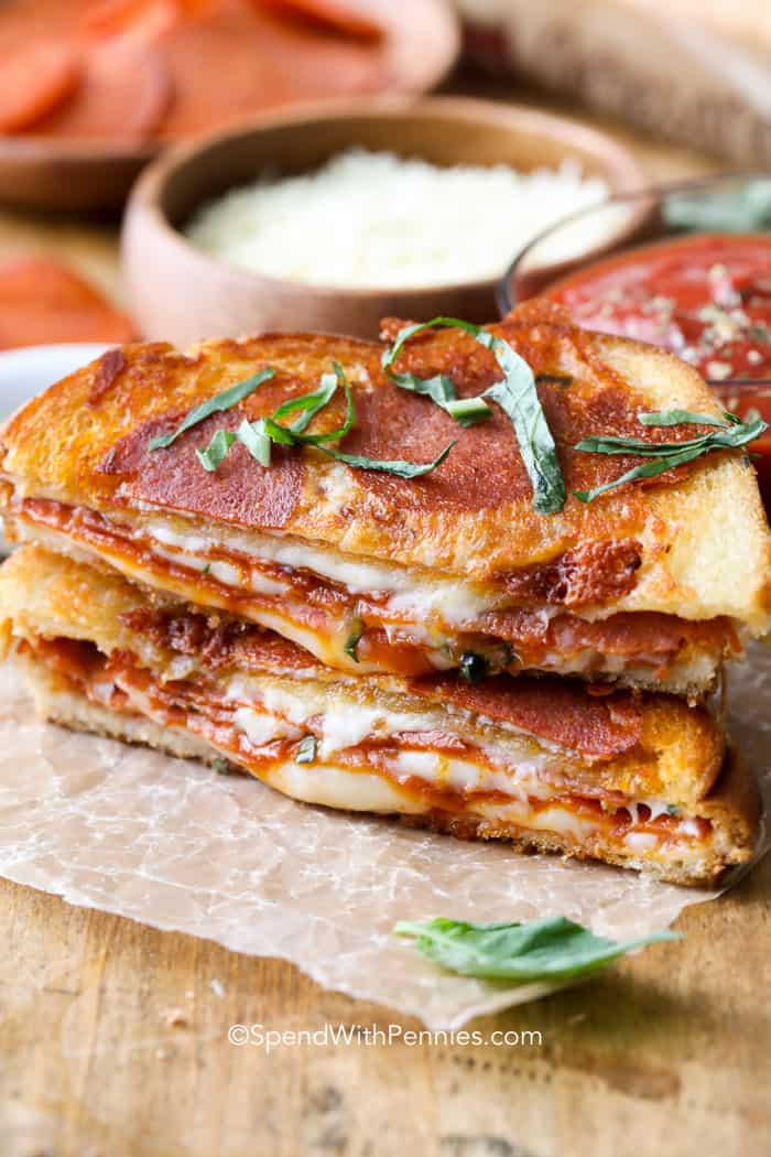Pizza grilled cheese combines two of my all time favorite comfort foods: pizza and grilled cheese!P